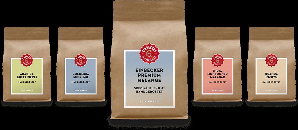 5 Sorten aus dem Kaffee Sortiment